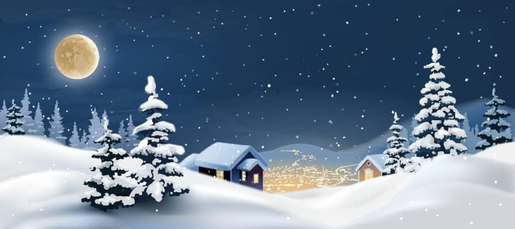 Kreslený obrázek se zasněženou vesnicí.