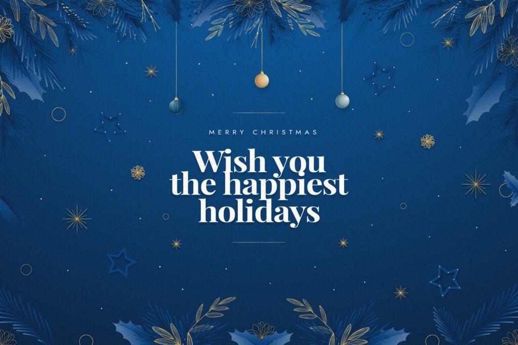 Modrý pohlednice s vánočním blahopřáním.