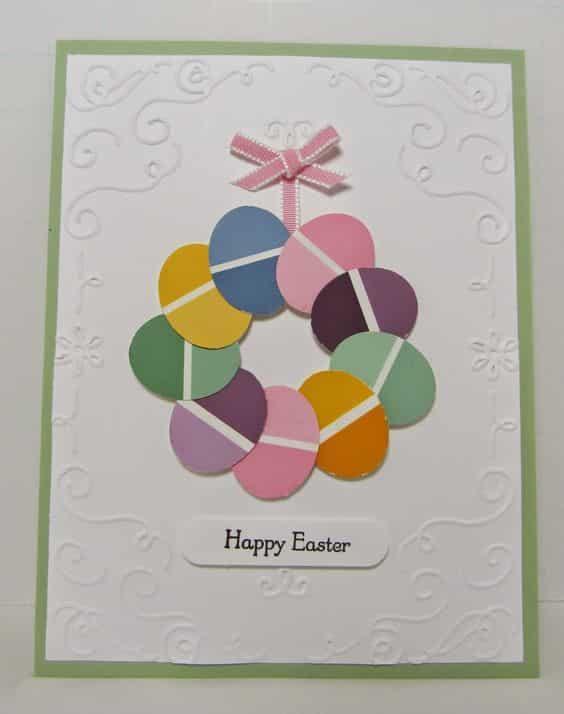 Návod na výrobu Velikonočního přání z barevných vzorníků.
