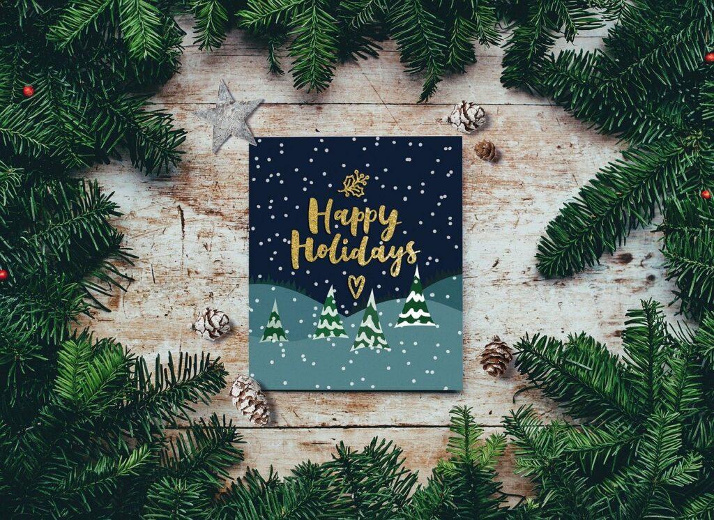 Vánoční přání s větvičkami.
