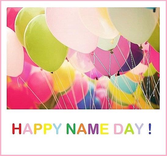 Barevné balónky s nápisem happy name day!