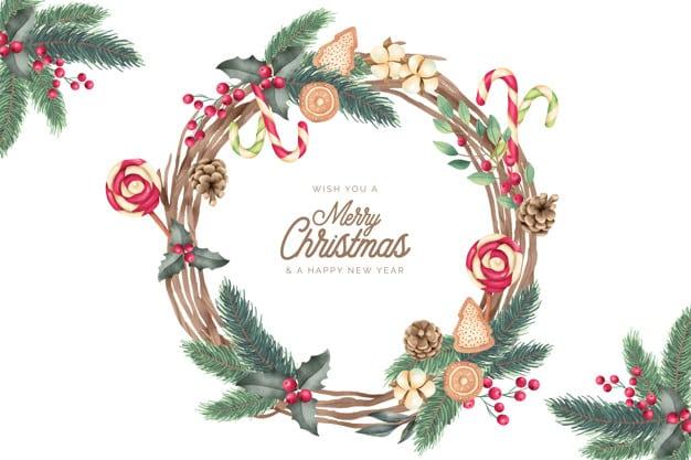 Vánoční věnec s jehličím a perníčky.