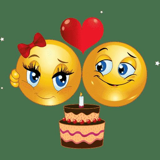 Kreslený emotikonový pár s dortem, zdobeným svíčkou.