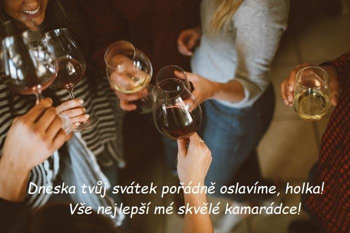 Dámy, připíjející si sklenicemi s vínem.