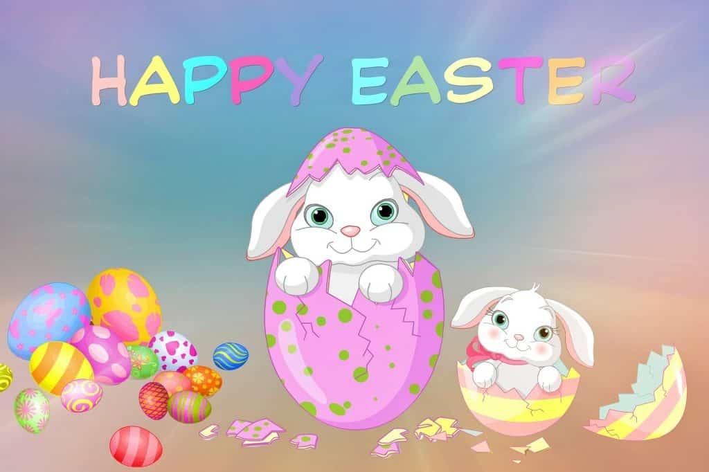 Kreslené Velikonoční přání v angličtině.