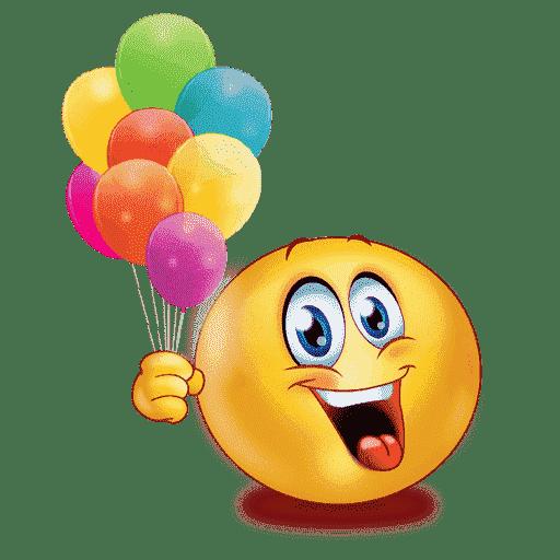 Smajlík, držící barevné nafukovací balónky.