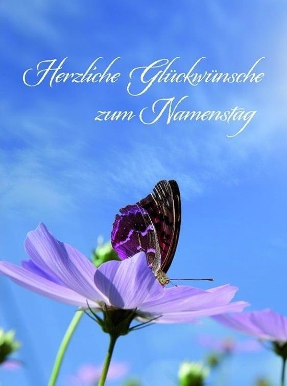 Fialový květ s fialovým motýlem a nápisem Herzliche Glückwünsche zum Namenstag.