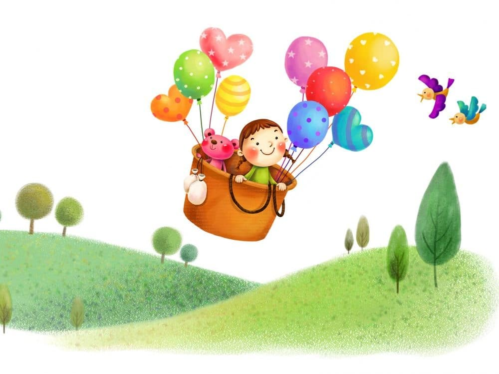 Kreslená holčička v létajícím košíku s medvídkem a balónky.