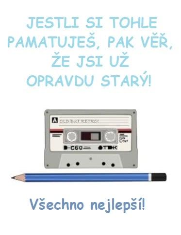Magnetofonová kazeta s tužkou a nápisem Všechno nejlepší.