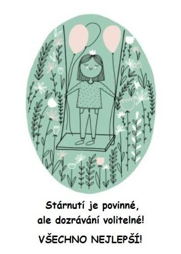 Zelený oválný obrázek s kreslenou holčičkou na houpačce a dvěma balónky.