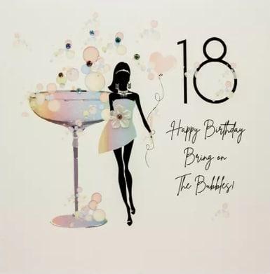Černě nakreslená dívka stojící u velkého drinku s nápisem a číslem osmnáct.