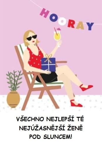 Kreslená sedící dáma s drinkem v ruce a dárkem na klíně.