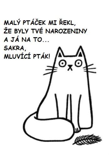 Černým fixem kreslená bílá kočka s peříčkem a nápisem.