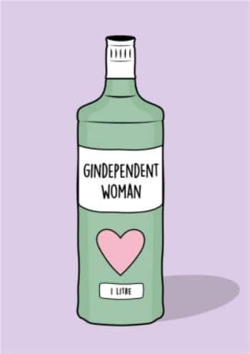 Zelená láhev se srdcem a nápisem gindependent woman.