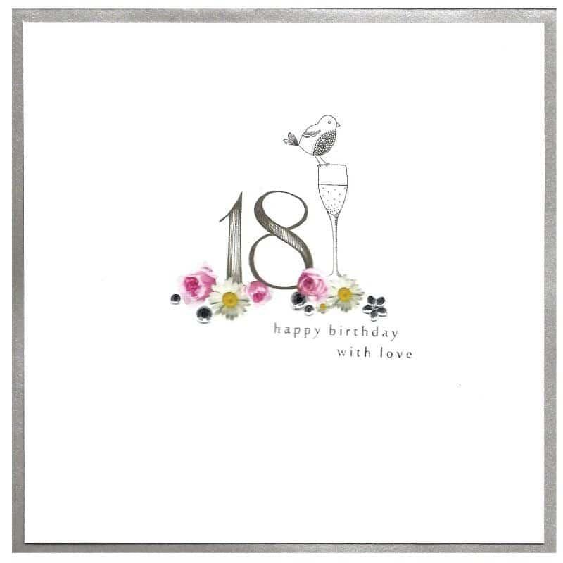 Kreslené číslo osmnáct se sklenicí šampaňského, barevnými květy a nápisem Happy Birthday.