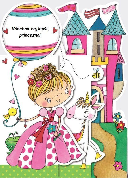 Narozeninové přáníčko pro děti s princeznou a jednorožcem.