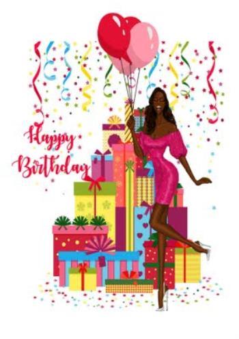 Kreslená dáma tmavé pleti v růžových šatech s dárky, balónky a nápisem Happy Birthday.