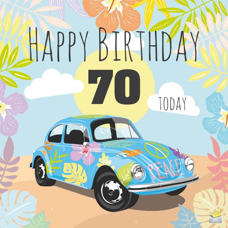Kreslené auto s barevnými listy a květy a číslem sedmdesát.