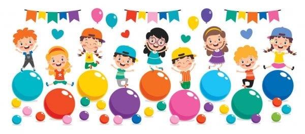 Kreslené děti na oslavě s barevnými balónky.
