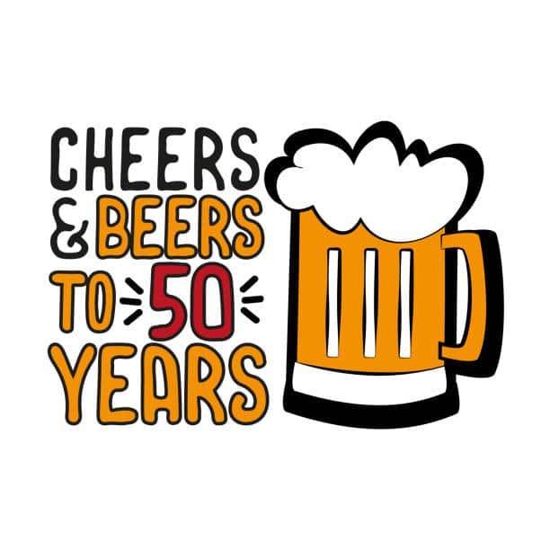 Kreslené blahopřání k narozeninám s pivem a nápisem.