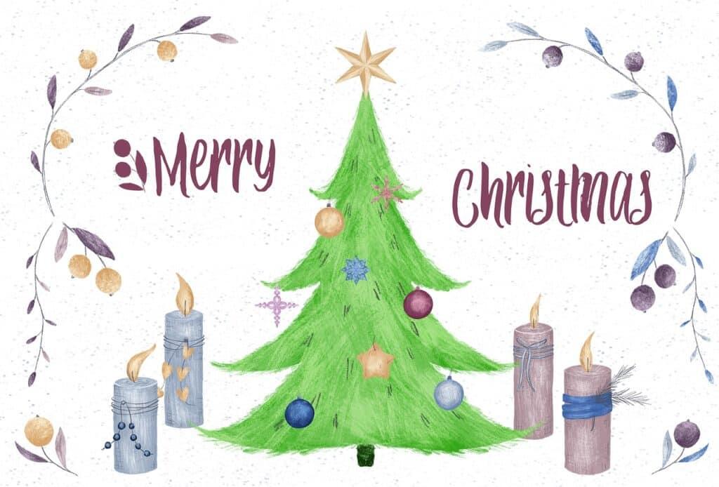 Kreslená pohlednice s vánočními motivy.