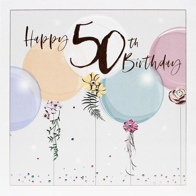 Kreslené narozeninové přáníčko s barevnými balónky a číslem padesát.