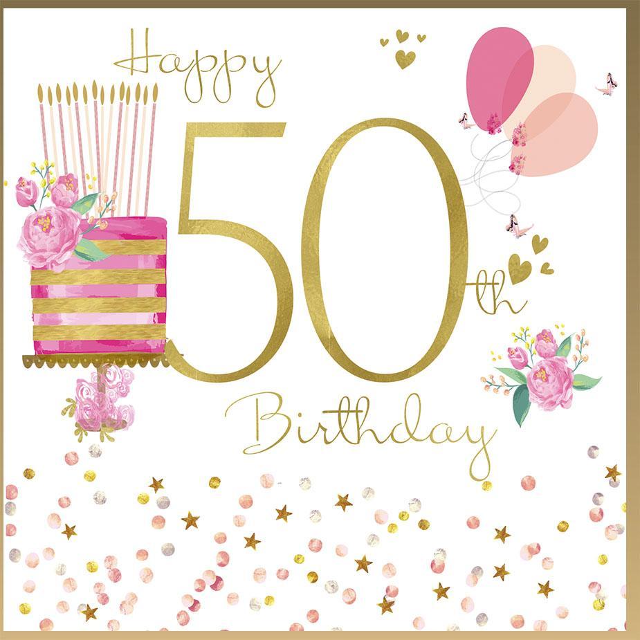 Malované přáníčko s dortem, narozeninovým textem, balónky a číslem padesát.