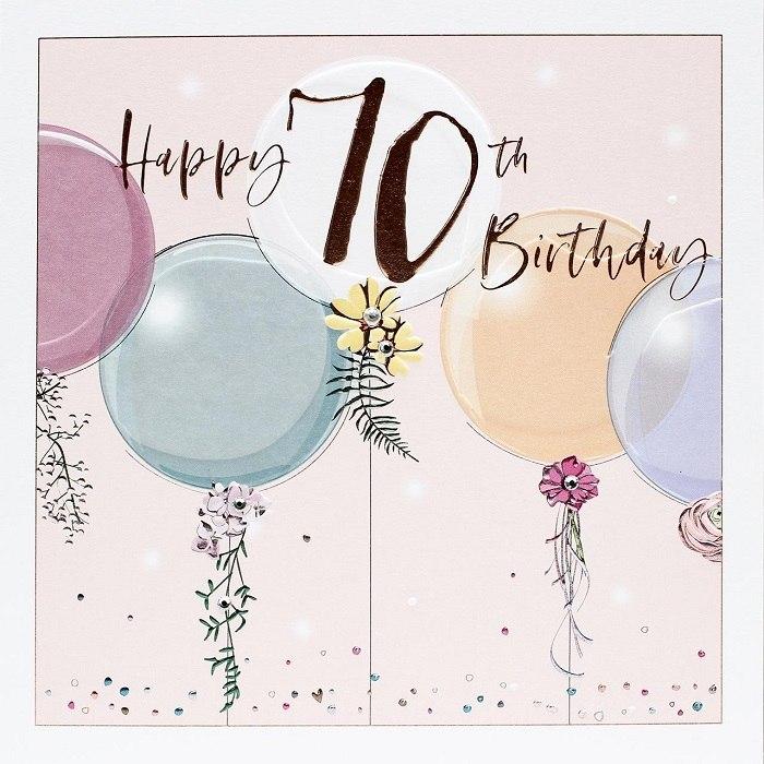 Blahopřání k sedmdesátinám s barevnými balónky a květy.
