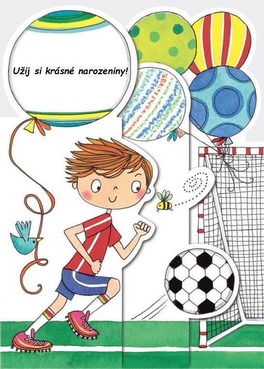Namalovaný fotbalista s narozeninovými balónky a nápisem Užij si krásné narozeniny!