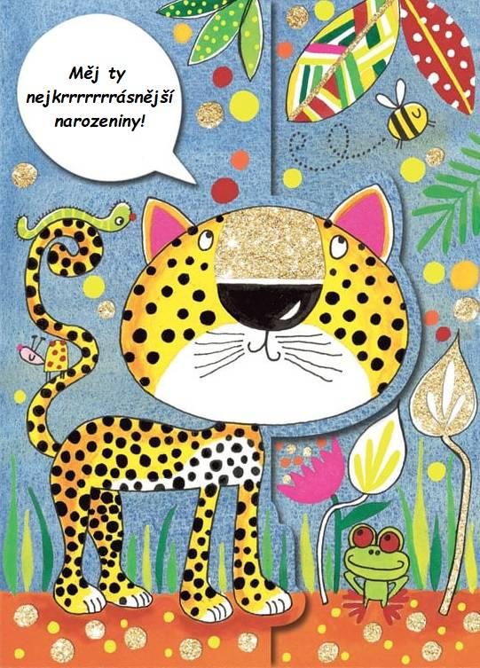 Malovaný gepard se žabkou, včelkou a housenkou a s narozeninovým blahopřáním.
