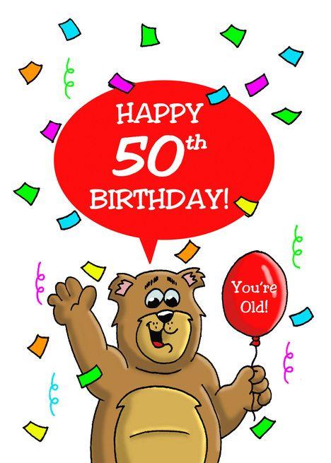 Kreslený hnědý medvěd s konfetami, červeným balónkem a narozeninovým textem.