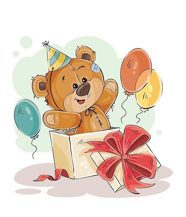 Kreslený medvídek s balónky, vyskakující z dárkové krabice s mašlí.