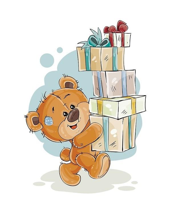 Kreslený medvídek nesoucí dárky s mašlemi.
