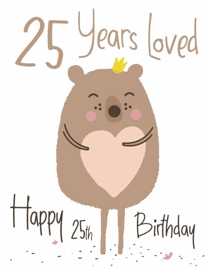 Kreslený hnědý medvěd se srdíčkem a narozeninovým nápisem.