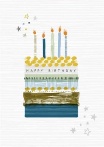 Kreslený narozeninový dort s hořícími svíčkami a nápisem Happy Birthday.