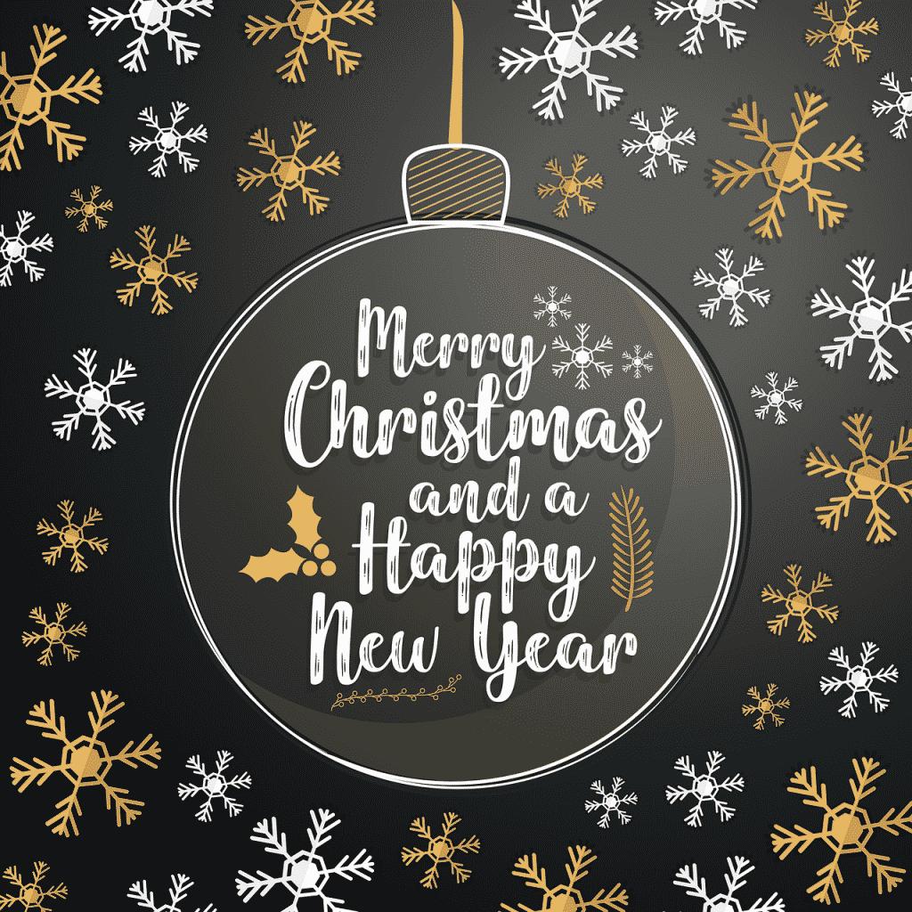 Baňka s přáníčkem veselých Vánoc a šťastného nového roku.