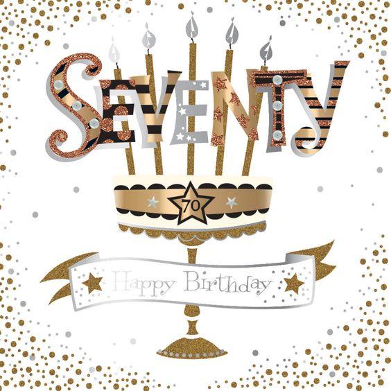 Zlatostříbrný kreslený stojan na svíčky s nápisem seventy a číslem sedmdesát.