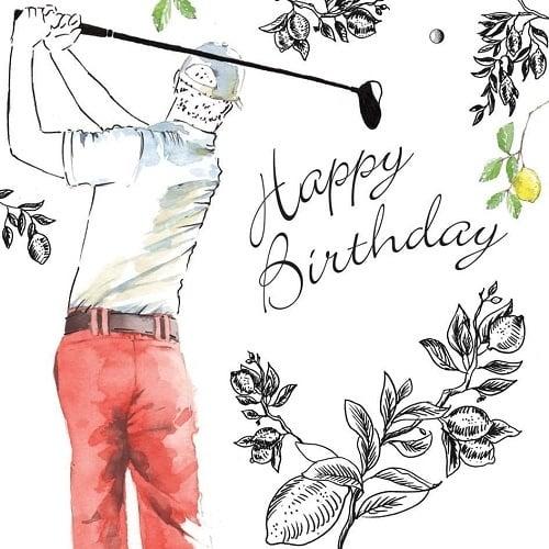 Golfista odpalující golfový míček s nápisem Happy Birthday.