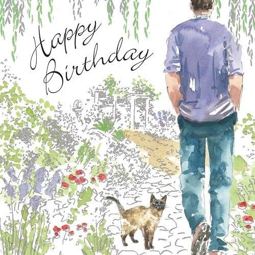 Muž ve fialové košili s kočkou nakreslený na narozeninové pohlednici.