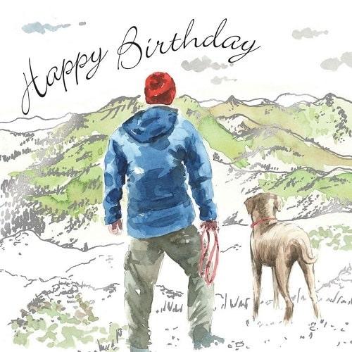 Nakreslený muž v modré bundě se psem a nápisem Happy Birthday.