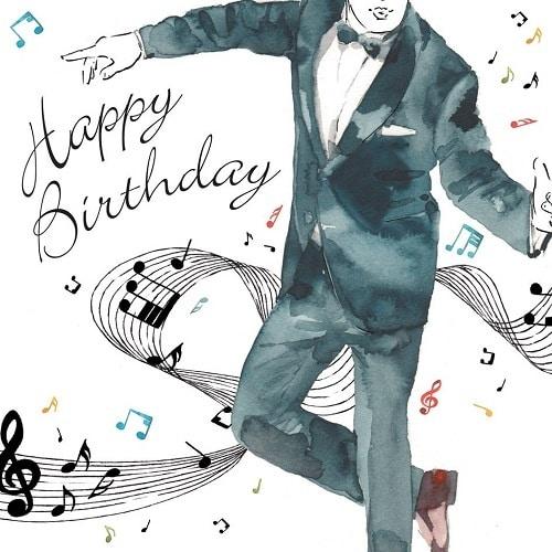 Kreslený tancující muž v obleku na narozeninovém blahopřání.