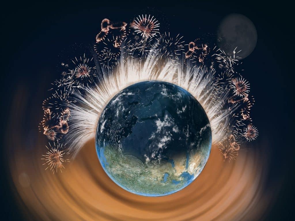 Obrázek s ohňostrojem po celém světě.