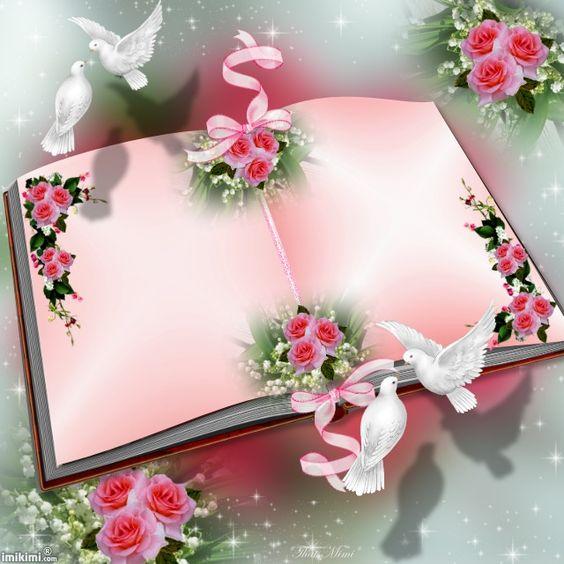 Růžová otevřená kniha s volným místem na blahopřání, zdobená bílými hrdličkami a růžemi.