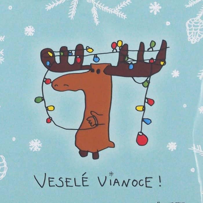Vánoční pohlednice ve slovenštině.