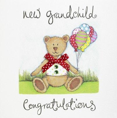 Kreslená gratulace k miminku s medvídkem s balonky.