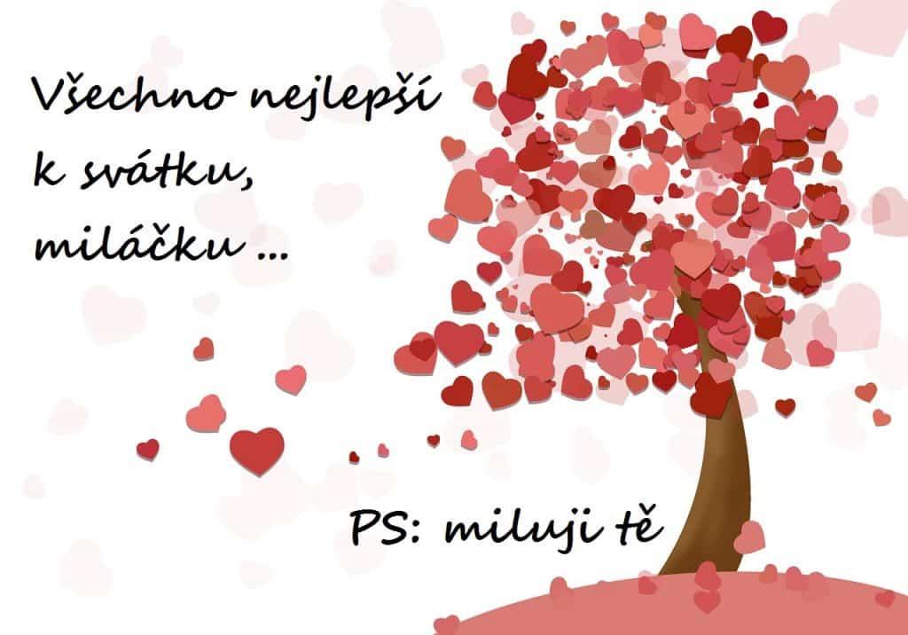 Přání z lásky se srdíčky a stromem.