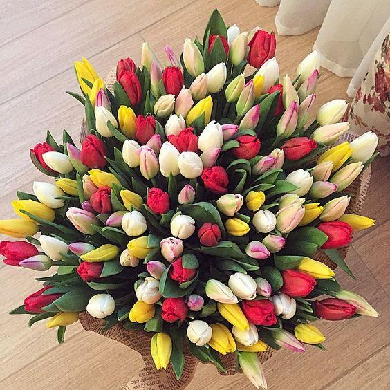 Dárková kytice barevných tulipánů.