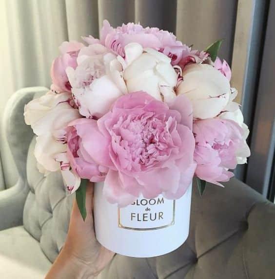 Růžové a bílé kytky a dárkové krabici.