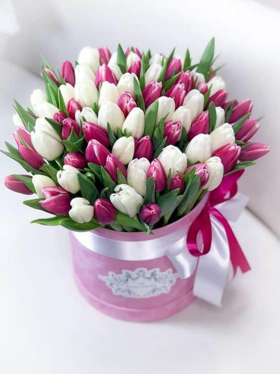 Kytice tulipánů s svátku v růžové dárkové krabici.