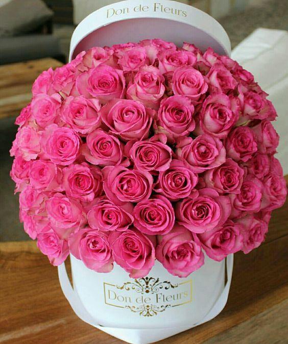 Dárková krabice růžových růží k svátku.